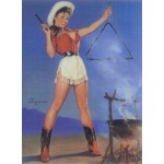 Cowgirl Barbeque Pin Up Girl Poster